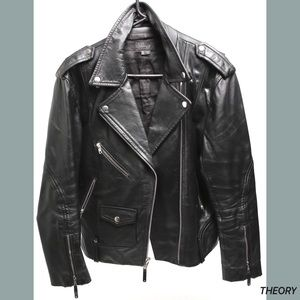 Theory Jackets & Coats - Theory Men's Black Leather Medium Biker Jacket